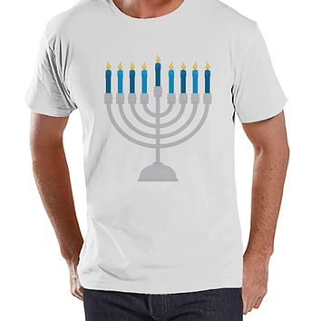 Hanukkah Shirt - Menorah Shirt - Men's Hanukkah Menorah White T-shirt - Happy Hanukkah Outfit - Hanukkah Gift Idea - Family Holiday Shirts