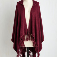 Upstate Swank Shawl in Burgundy by ModCloth