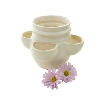 Vintage McCoy Cream Planter 3021 Circa 1974 Strawberry Pot or Hen and Little Chickens Planter Garden Decor Off White