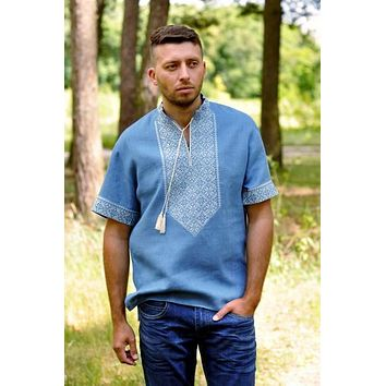Men's short sleeve Vyshyvanka with beige embroidery