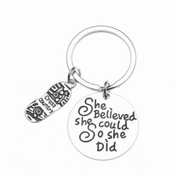 Cross Country Keychain - She Believed She Could