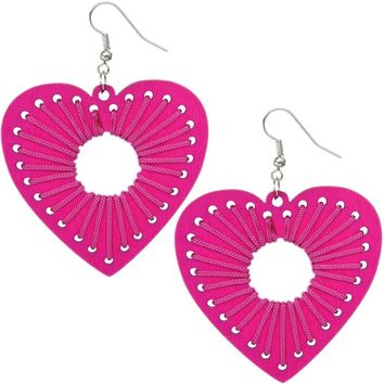 Pink Wooden Woven Heart Earrings