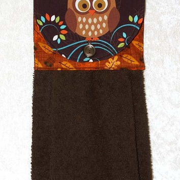 Owl Hanging Kitchen Towel • Autumn Hanging Hand Towel • Brown Hand Towel • Brown Owls Hand Towel • Autumn Decorations • Fall Kitchen Decor