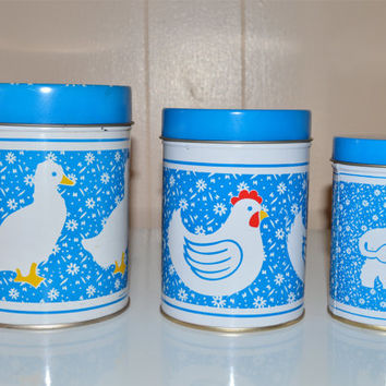 Country Kitchen Canisters, Duck, Chicken, Cow, Blue and White Nesting Tins, Vintage Kitchen, Home Decor