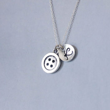 Button Necklace. Button Charm Necklace. Personalized Initial Necklace. Friendship Necklace. Sterling Silver necklace. No.206