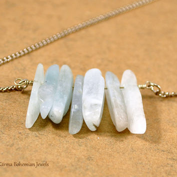 Aquamarine Point Raw Necklace. One Of A Kind. Bohemian Gemstone Necklace. Long Aquamarine Bar Necklace. Gemstone Layered Necklace.