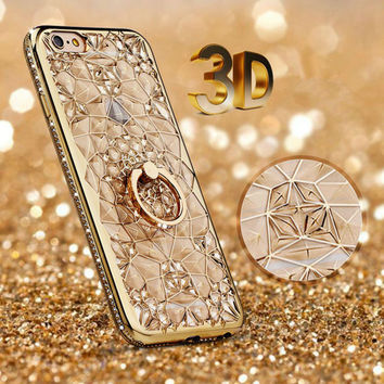 Gold Plating Case 3D Rugged Flower Glitter Diamonds Phone Cases For iPhone 7 7plus TPU soft Ring Cover For Iphone 6 6S/ Plus -0316