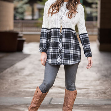 Knit Pick Plaid Button Up Contrast Cable Knit Pull Over (Ivory)