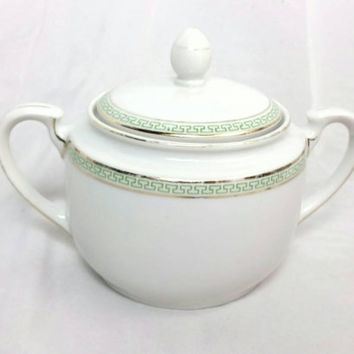 Vintage Palace H & C Selb Bavaria Heinrich and Co China Sugar Bowl/Green Greek Gold Key Design Print/Tea Coffee Sugar Bowl
