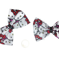 Hello Kitty Bow Set, Sanrio bows, Hello kitty fabric, womens bows, gift ideas, girly hair bows, hello kitty accessories, kitty cat bows,