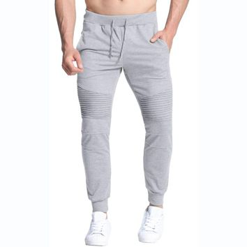 Mens Casual Joggers High Quality Bodybuilding Fitness Long Workout Pants Solid Color Elastic Waist  Sweatpants