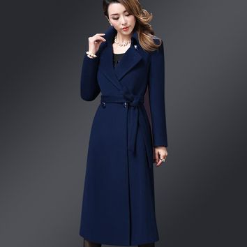 New Ladies Elegant Long Cashmere Overcoats Autumn Winter Fashion Turn-down Collar Double-breasted Woolen Coats Women Wool Coat