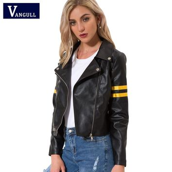 Vangull Leather jacket Spring New Women zipper moto Cool streetwear winter coat Female Black Faux leather jackets