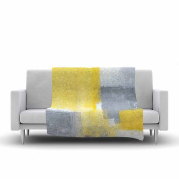 "CarolLynn Tice ""Steady"" Yellow Gray Fleece Throw Blanket - Outlet Item"