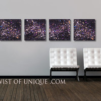 Night sky wall art / CUSTOM Painting /  2 Panel (75 Inches x 15 Inches) / Concrete/ AcryliCrete/ Midnight sky, night sky, stars