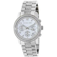 Michael Kors MK5825 Womens Runway Mid-Size Silver Dial Stainless Steel Chronograph Glitz Watch
