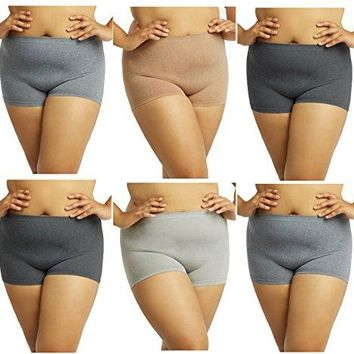 Gilbins Plus Size Women Seamless Stretch Boy Shorts Panties Various Styles Fits Most 1X2X Pack of 6