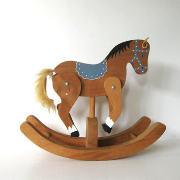 Handmade Vintage Wood Rocking Horse, Primitive Folk Art Collectible, Country Home decor, Kids
