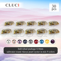 Mixed 9 colors individually wrapped 6-8mm round akoya single and twins pearls oysters 30pcs, UPS free shipping