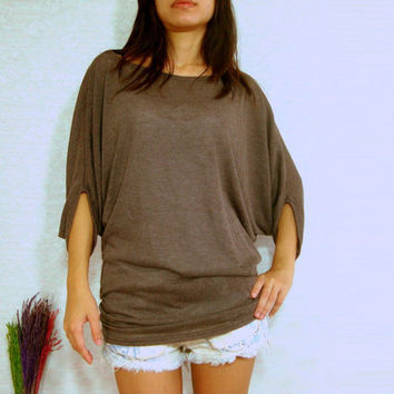 Chocolate Dark Brown Shirt  Women Shirt  Oversized by idea2wear
