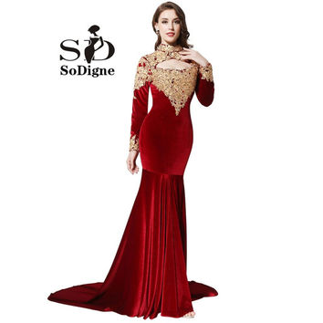 Evening Dress 2016 SoDigne Burgundy Velour Long Sleeve Evening Dress High Neck Sexy Cut Out Women Pageant Dress Gold Appliques