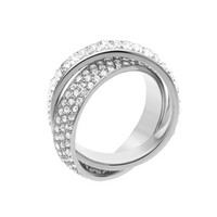 Michael Kors Pave/Baguette Eternity Ring, Silver Color