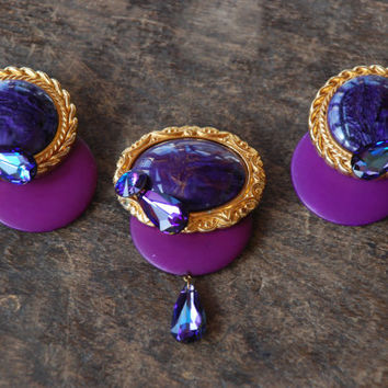 Vintage Large 80's Brooch Clip On Earrings Purple Cabochons Rhinestones Gold Tone Statement Jewelry Set 1980's // Vintage Costume Jewelry