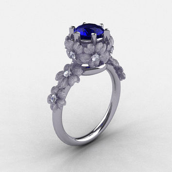 Natures Nouveau 950 Platinum Blue Sapphire Diamond Flower Engagement Ring NN109S-950PLATDBS