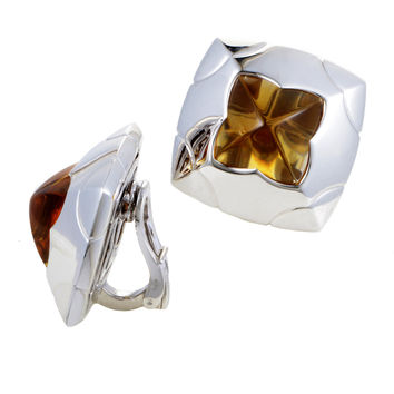 Estate Bvlgari Piramide Women's 18K White Gold Citrine Clip-on Earrings