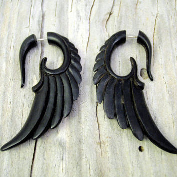 Fake Gauges Earrings Wooden Earrings Wings Black Angel Tribal Earrings - Gauges Black Wood FG002 DW