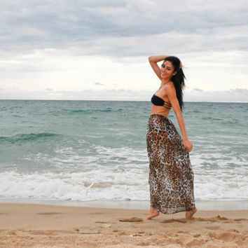 Sheer Leopard Maxi Skirt  Cover Up by dvcollection on Etsy