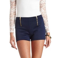 Double Zip-Up High-Waisted Shorts