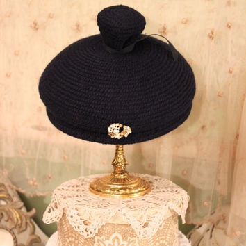1950s Navy Blue Hat - 50s Blue Knit Hat - Old Hollywood Glam - Audrey Hepburn Style - Vintage Accessory - Sophisticated Retro 40s 50s Hats