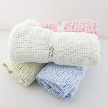 Summer Autumn Baby Blanket Newborn Swaddle Wrap Crochet Blankets Super Soft Cotton Knit Stretch Prop Crib Sleeping Bed Supplies