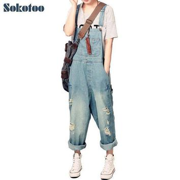 PEAPGC3 Sokotoo Women's casual loose denim overalls Lady's hole ripped baggy jeans Wide leg pants for woman