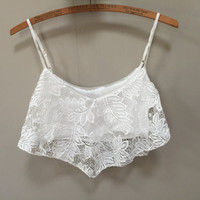 White Lace Bralette, Layered White Bralette, White Bra Top, Cropped Camisole White Crop Top Vintage 90s Bra Top Adjustable Vintage Lingerie