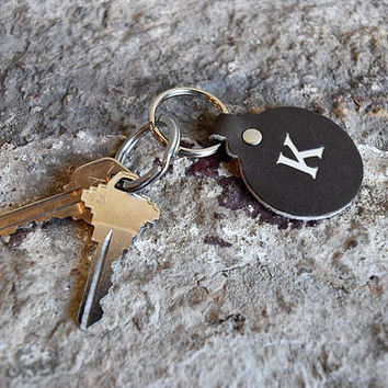 Custom Leather Circle Key Fob. Monogrammed Personalized Full Grain Leather Key Chain. Made In USA. Silver/Gold Foil Options.