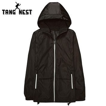 Men Hooded Solid Color Thin Spring Jacket Wind Proof Zipper Casual Jacket