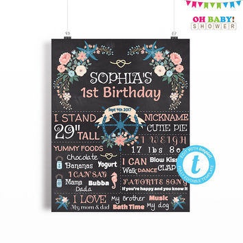 First Birthday Chalkboard Sign, First Birthday Chalkboard Sign Template, Nautical Birthday Poster, Editable ANY AGE Printable 16x20 8x10 BRS