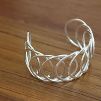 Sterling Silver Statement Overlapping Circle Design Cuff Bracele