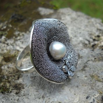 Pearl Flower Statement Ring 925 Sterling Silver