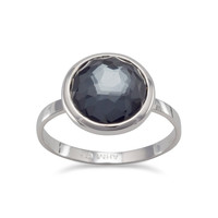 Large Round Freeform Faceted Quartz over Hematite Stackable Ring