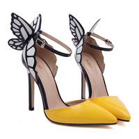 Dreamlike Butterfly Wings High Heel Pointed Sandals  yellow