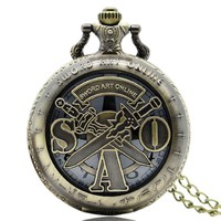 Sword Art Online Bronze Pocket Watch Japanese Animation AntiqueTheme Fob Watch With Chain Free Shipping Gift