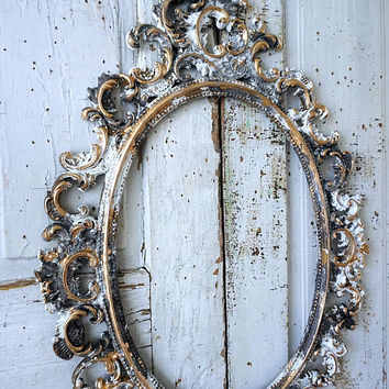 Ornate picture frame wall hanging French farmhouse distressed gray pewter white w/ gold vintage hand painted home decor anita spero design