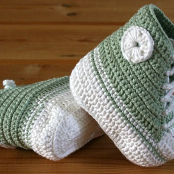 Organic cotton crochet handmade baby booties converse style Mint green & white Age 0 - 6 months  Ecofriendly Fairtrade Vegan Infant shoes