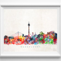 Dusseldorf Skyline Print, Germany Print, Dusseldorf Poster, Germany Cityscape, Watercolor Painting, Wall Decor, Christmas Gift