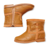 L'Amour & Angel Zip Ankle Boot - Brown -