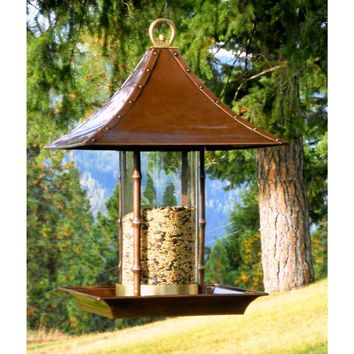 Copper Finish Metal Bamboo and Glass Asian Style Wild Bird Feeder