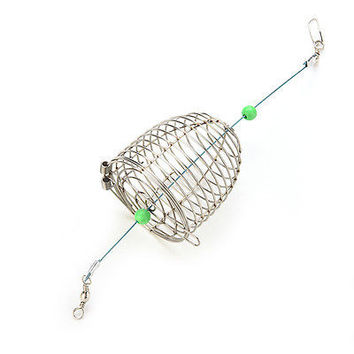 1 X Bait Cage Fishing Trap Basket Feeder Holder Stainless Steel Wire Coarse Hot